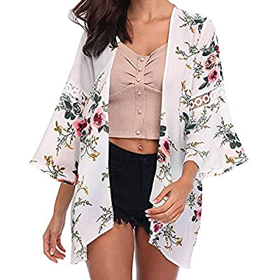 Women Long Lightweight Floral Cardigans Sweaters Open Front Regular White