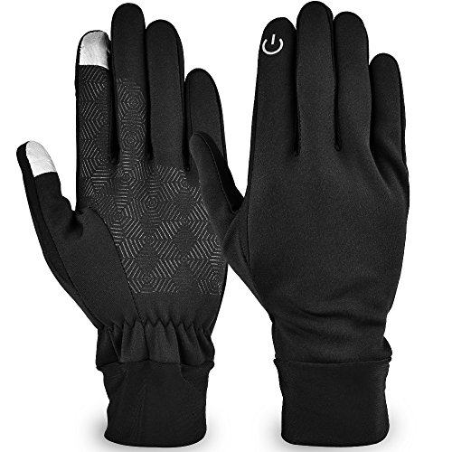 Lonew Touch Screen Gloves - Waterproof & Windproof Winter Warm Thermal Gloves For Outdoors, Cycling, Running, Texting Fits Men and Women (M)