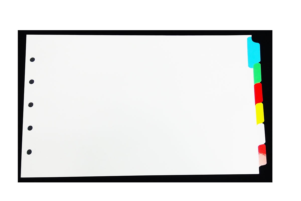 Legal Landscape Color Blank Tabs - 6 per Set- for Landscape Binders - tabs are Printable by a Copier Or Printer for 8 1/2'' x 14'' Legal Size Paper - Works Great with Landscape Binders.