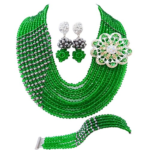 laanc 10 Rows Nigerian Wedding African Beads Jewelry Set Crystal Bridal Jewelry Sets (Green and Silver)