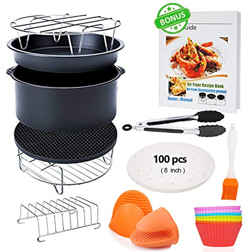 - FDA 8 inch XL Air Fryer Accessories 11 pcs with Recipe Cookbook Compatible for Gowise USA COSORI Airfryer XL 5.3QT - 5.8QT, Deluxe Deep Fryer Accessories Set of 12