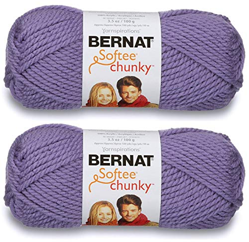 - 2-Pack - Bernat Softee Chunky Yarn, Lavender, Single Ball