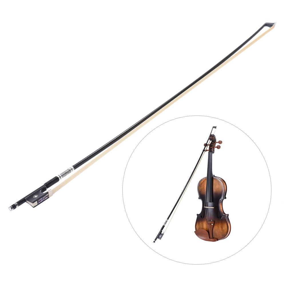 ammoon Well Balanced geflochtenes Carbon 3/4 Violine Fiddle Bow runde Stange Exquisite Roßhaar Ebony Frosch