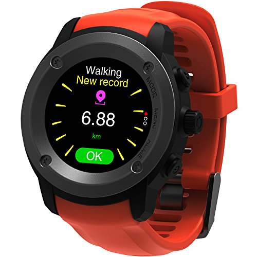 Parnerme GPS Running Watch Heart Rate Monitor Wrist Sport Watch Smart Notifications GPS Smart Watch for Men Women Multi-Sports Modes Compatible Phone with 3-4 Days Standby  Charging Station (Orange) -  Shenzhen Qianhai Jiuruo Infromation Company Limited