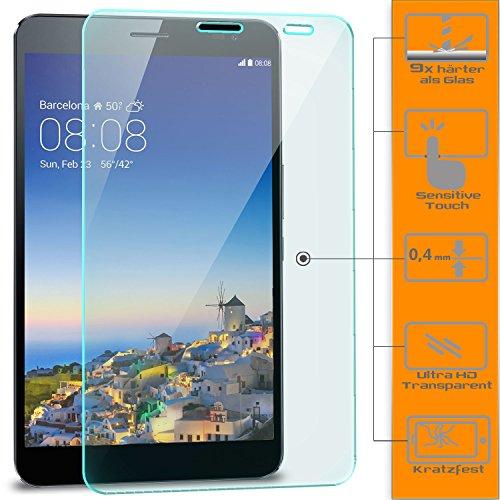 Saxonia 3x Displayschutz Folie aus Gehärtetem Glas für Huawei MediaPad X1 / X2 Glasfolie Hartglas | HD Klar Transparent