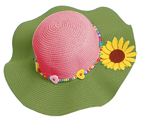 Green Toddler Girls (Bienvenu Kids Girls Multi-Colors Large Brim Flower Beach Sun Hats,Green)