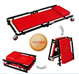 "MALAYAS 36"" Folding Car Creeper Board, 2-in-1 Crawler & Stool Seat Garage Workshop Inspection Rolling 6 Rotatable Wheels"