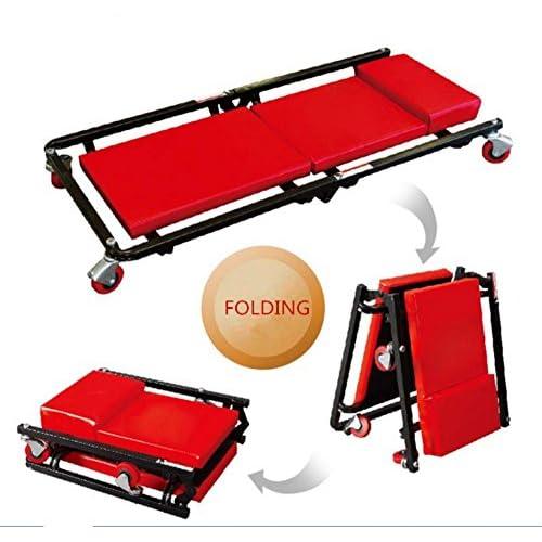 """Malayas® Chariot de visite mécanicien Pliable ,Planche de travail montage,Planche à roulettes de montage tabouret Adjustable - Forme """"Z""""- Rouge"""