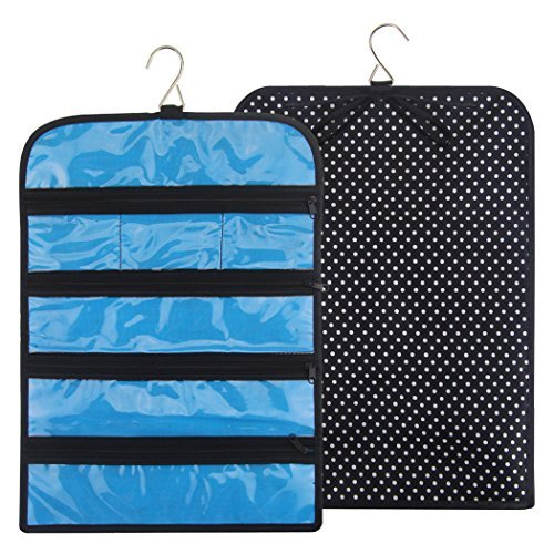 Ohlily Jewelry Roll Up Bag Travel Organizer Hanging with Zippers Compartments Waterproof (12.2