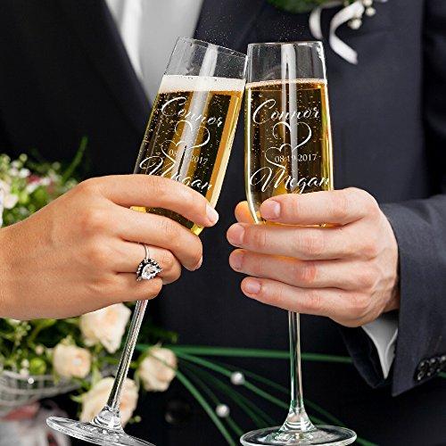 Set of 2 Personalized Wedding Champagne Flutes Engraved Glass Bride and Groom Gift Wedding Favors - Design (Groom Design Toasting Flutes)