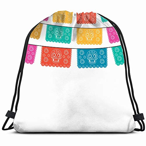 Day Death Cut Out Paper Composition Holidays Objects Drawstring Backpack Sports Gym Bag For Women Men Children Large Size With Zipper And Water Bottle Mesh Pockets]()