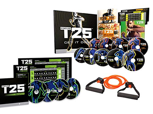 Focus T25 Shaun T's DVD Workout Program Alpha + Beta+Gamma+15 lb Elastic Band, Workout Exercise