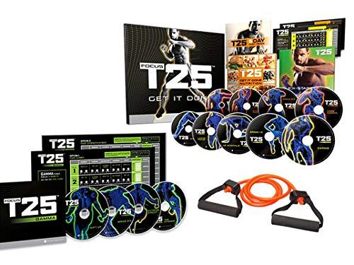 Focus T25 Shaun T's DVD Workout Program Alpha + Beta+Gamma+15 lb Elastic Band, Workout Exercise
