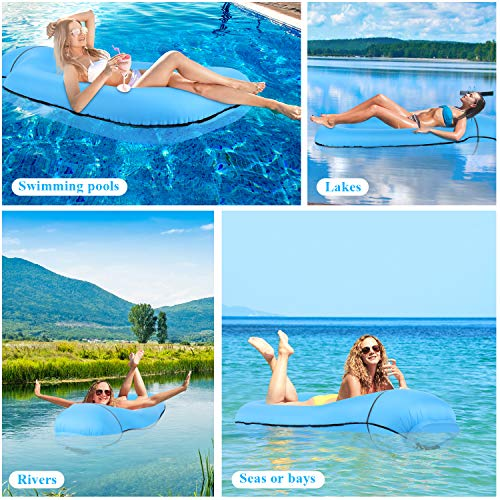 Tolaccea 2020 Pool Floats Inflatable Floating Lounger Chair Water Hammock Raft Swimming Ring Pool Floating Bed for Adults & Kids Lightweight Single Layer Nylon Fabric No Pump Required Blue