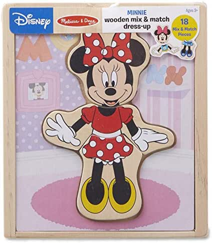 Melissa & Doug Disney Minnie Mouse Mix and Match Dress-Up Wooden Play Set (18 Pieces)
