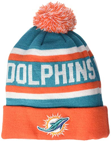 OTS NFL Miami Dolphins Men's Jasper Cuff Knit Cap with Pom, Team Color, One Size