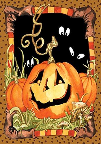 Toland Home Garden Jack Pumpkin 12.5 x 18 Inch Decorative Spooky Jack o Lantern Halloween Garden Flag -
