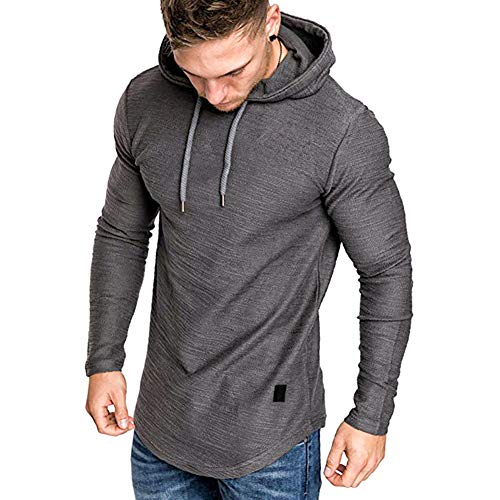 Mens Casual Long Sleeve Hoodies Solid Colors Sweatshirt M-3XL