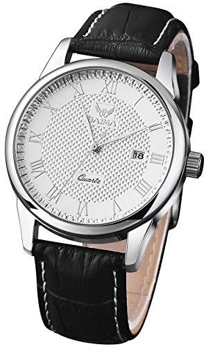 Ostan Herren Uhren Mode Black Leder Runde Förmigen weiß Farben Vorwahlknopf Armkette Armband Armbanduhr Uhr