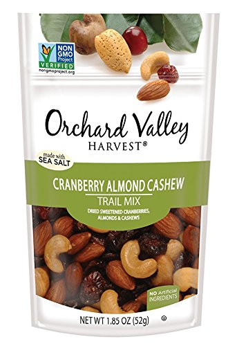 ORCHARD VALLEY HARVEST Cranberry Almond Cashew Trail Mix, Non-GMO, No Artificial Ingredients, 1.85 oz (Pack of 14) (Trail Cranberry Mix)