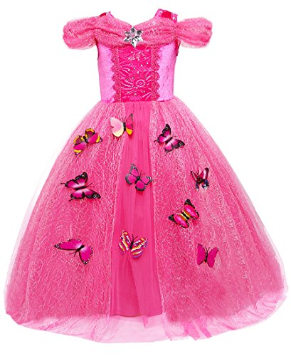 Girls Princess Dress up Costume Red Butterfly Party Dresses for Halloween Christmas 8-10 years Old ()