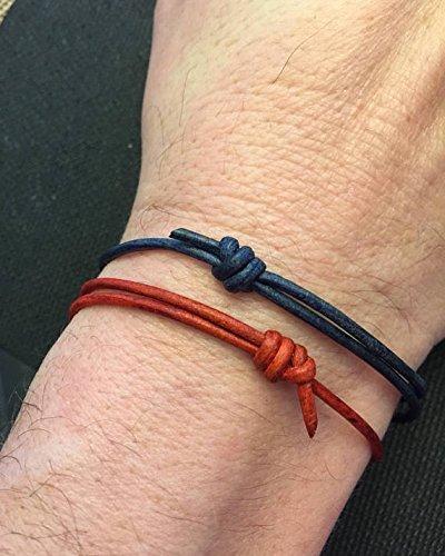 39f760770be4e Amazon.com: Genuine Leather Cord Bracelet, Adjustable, Men's ...