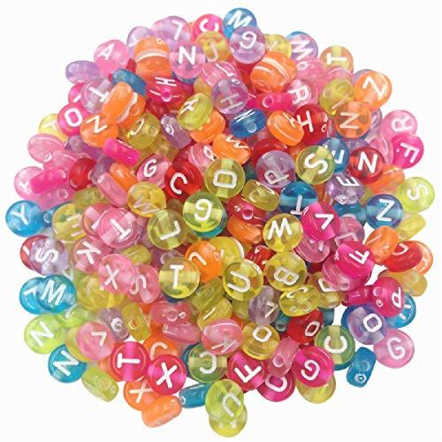 Letter Beads Kit Alphabet Alphabet Bead A-z Bulk 500 pcs Colorful Round Shape Size 3mm - Acrylic Beads Lettered Bracelets DIY Jewelry Accessories Making for Kids Women Girls Children
