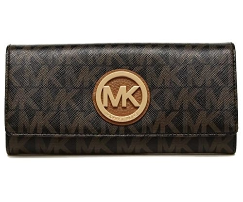 MICHAEL Michael Kors Women's FULTON Flap Continental Leather printed Wallet (Black/darkBrown) by MICHAEL Michael Kors