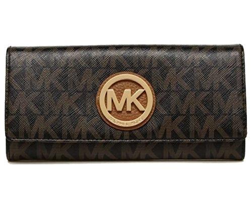 MICHAEL Michael Kors Women's FULTON Flap Continental Leather printed Wallet (Black/darkBrown) by MICHAEL Michael Kors