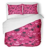 Emvency 3 Piece Duvet Cover Set Breathable Brushed Microfiber Fabric Pink Bachelorette with Female Party Alcohol Beautiful Beauty Cocktail Cute Bedding Set with 2 Pillow Covers Twin Size