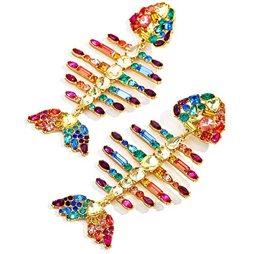Sparkly Fish Shaped Drop Statement Earrings KELMALL COLLECTION ()