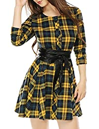 Allegra K Women's Plaids Single Breasted Belted Mini Christmas A Line Shirt Dress
