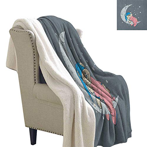 Suchashome Bear for Bed/Couch/Chair in Livingroom or Bedroom Cute Kids Design with a Baby Bear in Pajamas Sleeping on The Grungy Moon Cozy Flannel Blanket 60x78 Inch Bluegrey Pink Beige