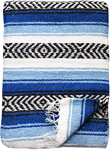 (Threads West Premium Large Heavyweight Mexican Falsa Throw Blanket, Serape Stripe Yoga Blanket, Beach Blanket Available in 2 Sizes! (Large Heavy, Turquoise and Light Blue))