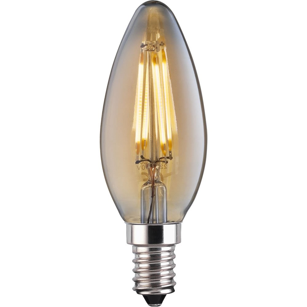 TCP Vintage LED Filament Bulb 4W E14 Vintage 370lm Candle SES Small Edison Screw Cap 370LM 15000 Hours Life - Pack of 6
