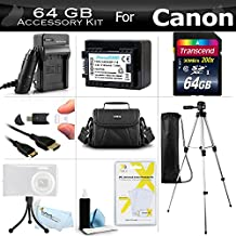 64GB Accessory Kit For Canon VIXIA HF R62, HF R60, HF R600, HF R700, HF R72, HF R70 Digital Camcorder Includes 64GB High Speed SD Memory Card + Replacement BP-718 Battery + Charger + Case + Tripod + More
