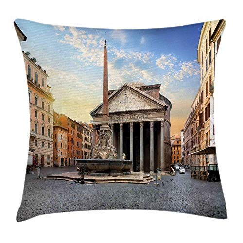 NBTJZT Obelisk Throw Pillow Cushion Cover, Traveling Italy Landmarks Picture of Pantheon and Fountain in Rome at Early Morning,Pillowcase 18X18 Inch, Multicolor