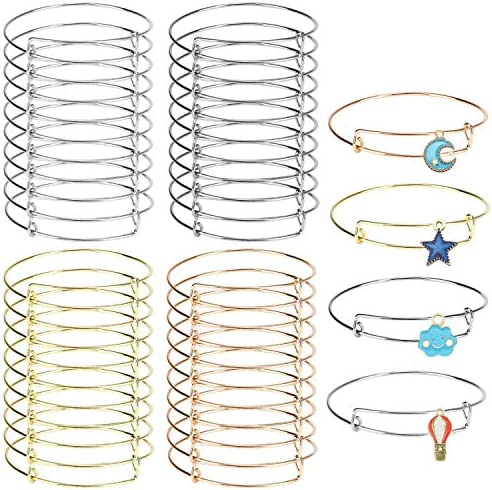40 Pack Expandable Bangle Bracelets Adjustable Wire Bracelets Stainless Steel Blank Bracelet for DIY Jewelry Making