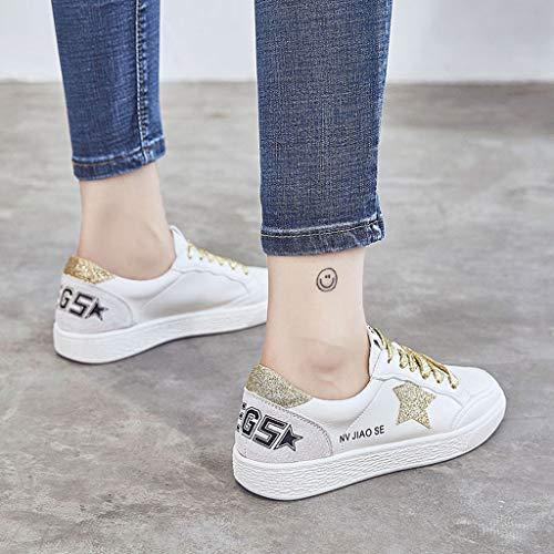 Chaussures De Or SHI D'été Baskets Skateboard Flat De Chaussures Bouche Mode Femmes Profonde Lacent Peu Bottomed Forme Plate Décontractées wHUYx7qHR