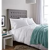 BANDED LACE PINTUCK STRIPE WHITE COTTON BLEND CANADIAN QUEEN SIZE (230CM X 220CM - UK KING SIZE) DUVET COMFORTER COVER