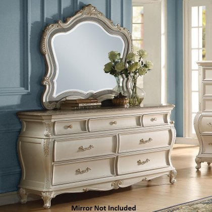 Carved Cabriole Legs - Acme Furniture 23545 Chantelle Dresser with 7 Drawers Granite Top Decorative Metal Hardware Carved Apron and Cabriole Legs in Pearl