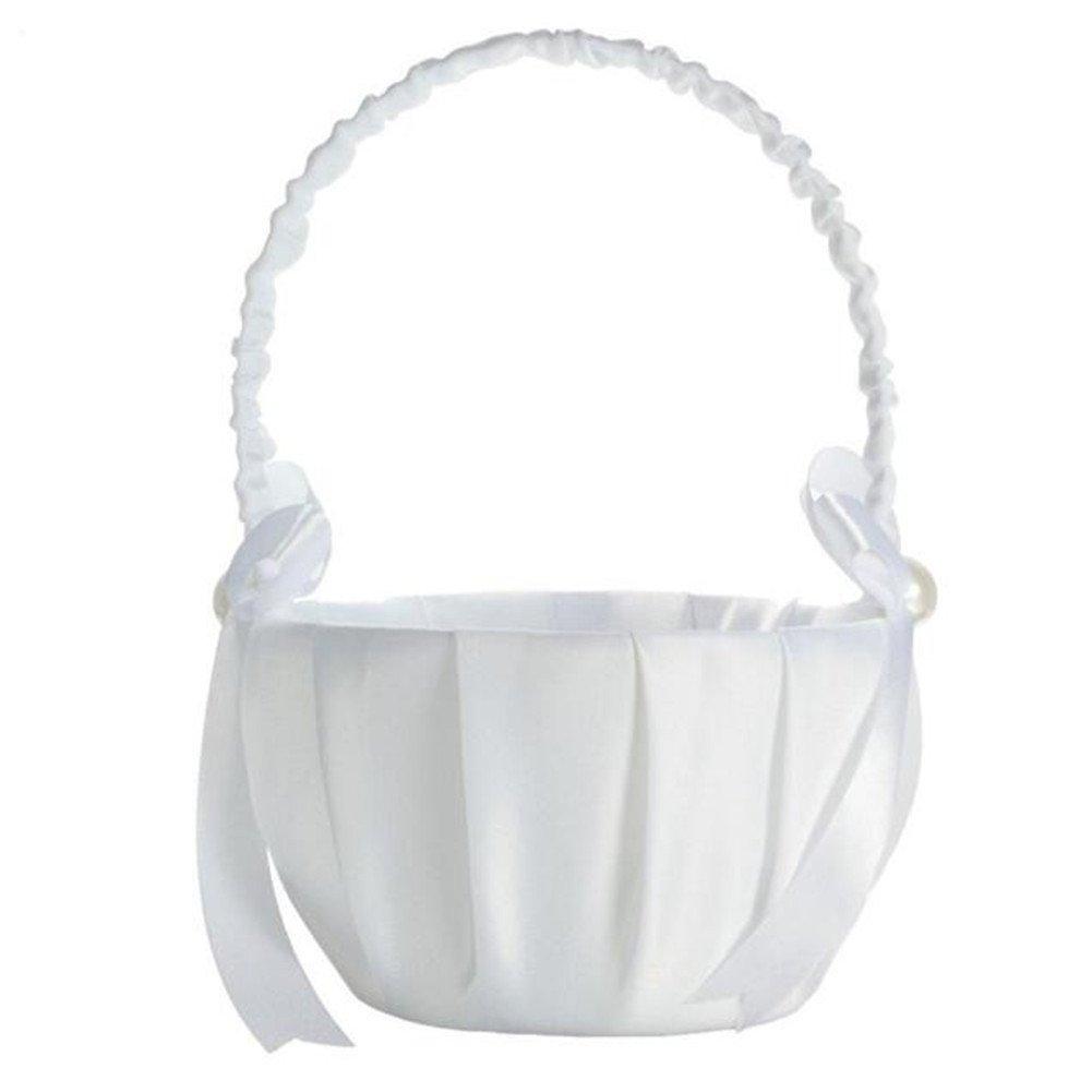 Wedding Flower Basketbride Flower Basketwhite Satin Bowknot Design