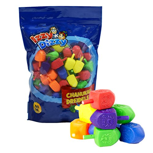 Izzy 'n' Dizzy 100 Medium Dreidels - Assorted Colors - Classic Chanukah Spinning Draidel Game and Prize - Bulk Value Pack]()