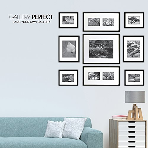 Gallery Perfect 9 Piece Black Wood Photo Frame Wall