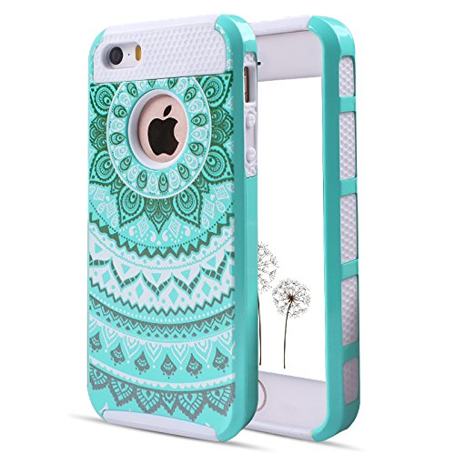 Mandala iPhone SE Case Shockproof, Cute Floral iPhone 5S Case Heavy Duty, Phone Case iPhone 5 Cases for Women, PC Silicone iPhone 5S Cases for Kids, iPhone SE Hybrid Case for iPhone 5S/SE/5-Teal White