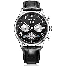 STARKING Men's AM0220SL22 Skeleton Day Date Month Subdials Multi-Function Black Leather Automatic Watch