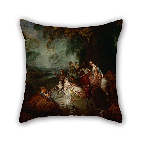 The Oil Painting Watteau, Jean-Antoine - Fete Champetre Cushion Cases Of 20 X 20 Inches / 50 By 50 Cm Decoration Gift For Relatives Boys Pub Boy Friend Kids Boys Father (double Sides)
