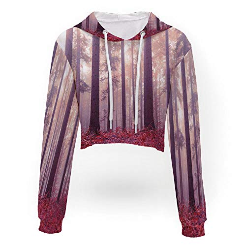 Women's Letter Print Long Sleeve,Woodland Decor,Sport Crop Top Sweatshirt Jumper]()