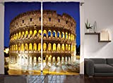 Cheap Ambesonne The Colosseum Curtains, Hostoric Imperial Roman Architecture European Culture Symbol, Window Drapes 2 Panel Set for Living Room Bedroom, 108 W X 84 L Inches
