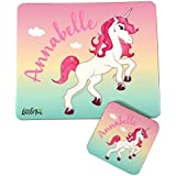 Childrens Personalised Unicorn Theme Placemat & Coaster Set For Girls by The Supreme Gift Company